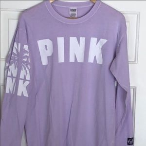 Victoria Secret Pink Palm Tree Long Sleeve Tee